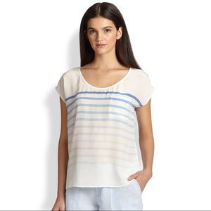 Joie Kendelline Striped Silk Blouse in White